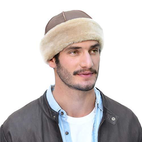 Cueros Latinos Shearling Sheepskin Hat for Men Winter Leather Beanie (XL, Nougat)