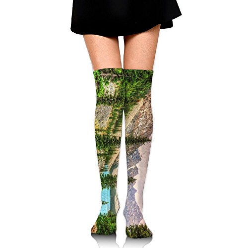 PengMin Canadian Moraine Lake Sunset Cotton Compression Socks For Women. Graduated Stockings For Nurses, Maternity, Travel, Flight,Varicose Veins,Running & Fitness, Calf Support. by PengMin
