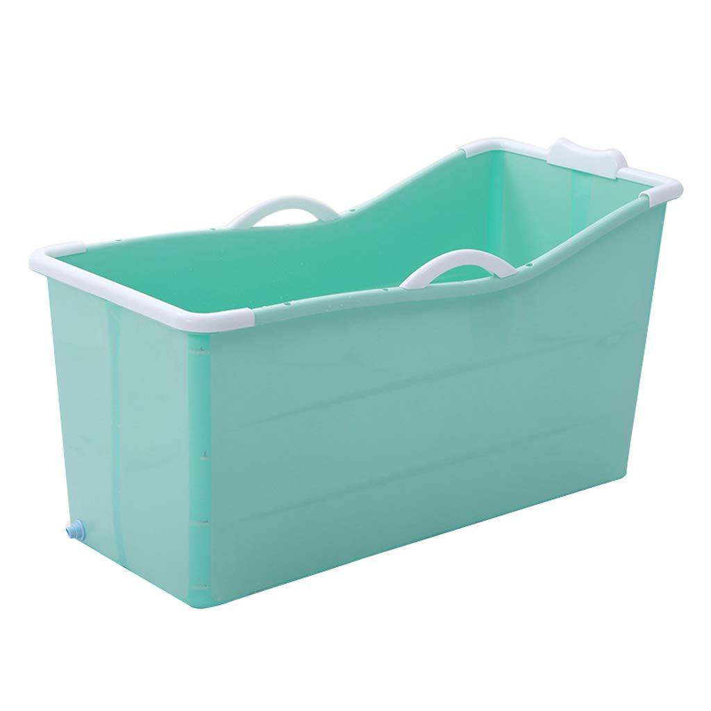 WENJUN Faltbare Erwachsene Badewanne Für Blau, Babybadewanne, Haushalts-faltende Wanne,  Faltbare Badewanne Für Erwachsene Mit Bezug Rosa (Farbe : Blue with lid)