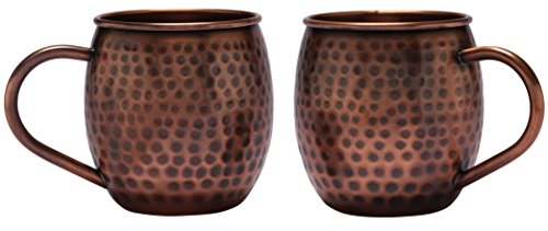 Melange Set of 2 Antique Finish 16 Oz Copper Barrel Mug for Moscow Mules - 100% Pure Hammered Copper - Heavy Gauge - No Lining - Includes Free Recipe Card ()