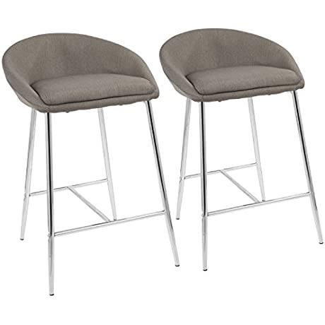Matisse Glam 26 Counter Stool With Chrome Frame And Grey Fabric By LumiSource Set Of 2