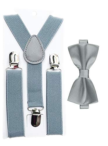Flairs New York Little Gentleman's Kids Bow Tie and Suspenders (Platinum Silver) -