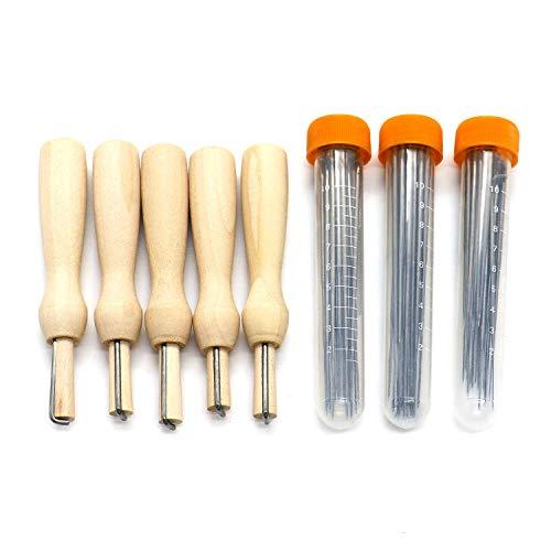 HUELE 60 Pcs Wool Felting Needles & 5 Pcs Wooden Needle Felting Pen Kits with Clear Bottles 3 Sizes