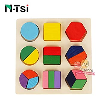 Puzzles - Wooden Geometric Shapes Sorting Math Montessori
