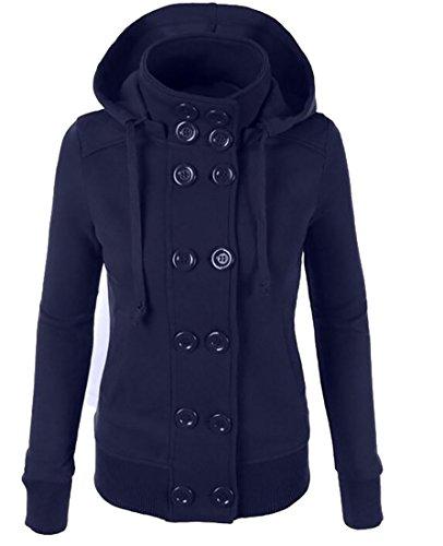 Generic Womens Long Sleeve Double Breasted Fleece Hoodie Sweatshirt Blue M