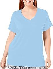Hue Women's Plus Size Short Sleeve V-Neck Sleep