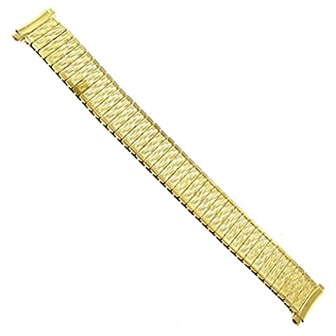 16-20mm Speidel Stainless Steel Twist-O-Flex Gold Curved End Watch Band 1131 - Curved Twist