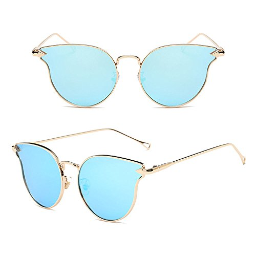 AMAZZANG-Retro Vintage Women's Gold Cat Eye Sunglasses Classic Oversized Shades Fashion - Blue Eyes Steve Mcqueen