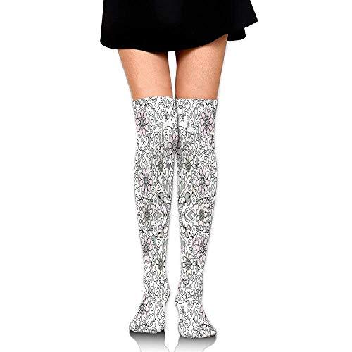 Swirl Silk Skirt - Vintage Abstract Flower Swirls Leaves Doily Ethnic Style Print Women's Fashion Over The Knee High Socks (65cm)