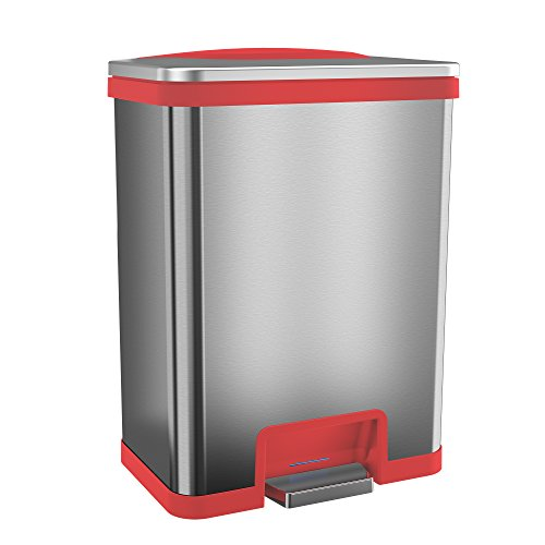 halo TapCan 13 Gallon Effortless Trash Can with One-Tap Pedal Sensor and Odor Control System - Stainless Steel with Red Trim