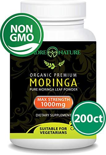Organic Moringa 200 Capsules - 100% Pure Leaf Powder - Max 1000mg Per Serving - Complete Green Superfood Supplement - Full 3 Month Supply - Miracle Tree Organic Moringa Oleifera Powder (200 Capules)