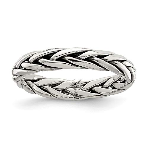 925 Sterling Silver Weaved 3.25mm Womens Band Ring Size 7.00 Fine Jewelry Gifts For Women For Her ()