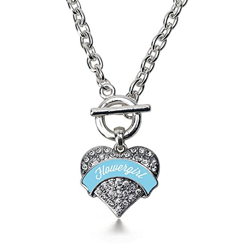 Pave Rhinestone Flower (Inspired Silver Light Blue Flower Girl Pave Heart Toggle Necklace Clear Crystal Rhinestones)