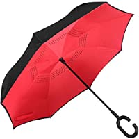 Shoppozone Double Layer Inverted Reversible No Drip Umbrella with C Shape Handle - (RED Color)