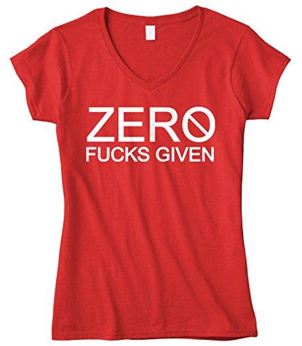 Cybertela Women's Zero Fucks Given Fitted V-Neck T-Shirt (Red, Large)