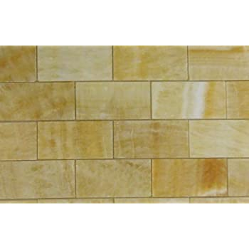 2x4 Brick Pattern Honey Onyx Polished Mosaics Meshed on 12