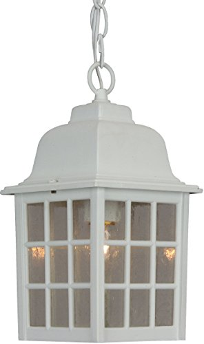 04 Grid Cage (Craftmade Z271-04 Hanging Lantern with Seeded Glass Shades, White Finish)