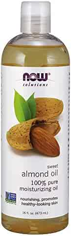NOW Solutions, Sweet Almond Oil, 100% Pure Moisturizing Oil, Promotes Healthy-Looking Skin, 16-Ounce