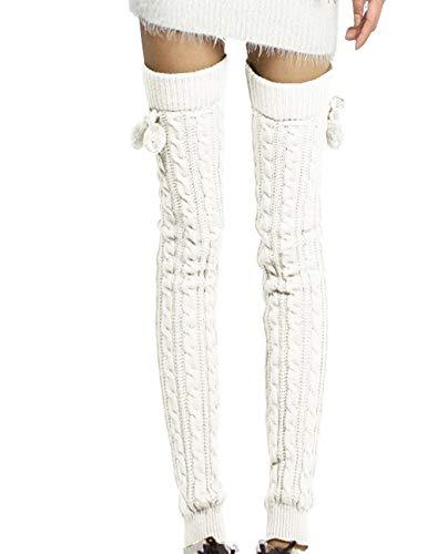 EMMA Beenwarmers voor dames en meisjes, 1 paar, grof gebreid, gedraaid patroon met strik, eenheidsmaat, overknee, winter…