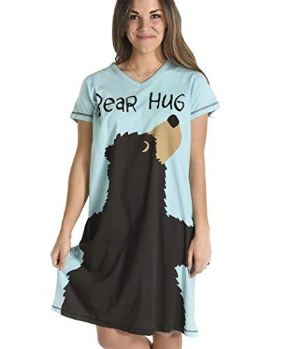 Funny Womens Nightshirt - Bear Hug Women's Animal Pajama Nightshirt by LazyOne | Cute Animal Nightgowns for Ladies (L/XL)