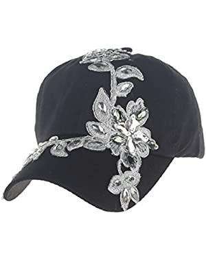 Lady Cotton Campagne Bling Flower Pattern Adjustable Baseball Cap