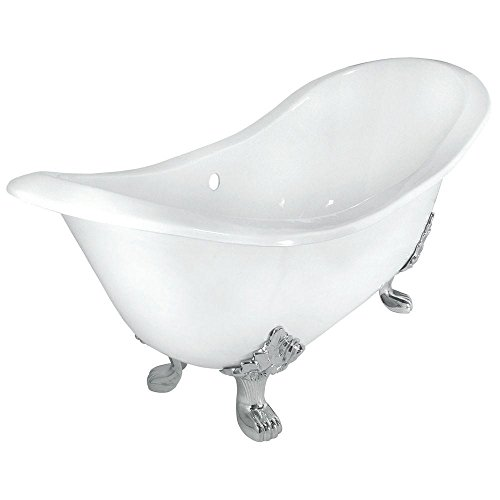 Elizabethan Classics ECDSLPB Cast Iron Double Slipper Tub with Less Faucet Holes, Polished Brass Feet ()