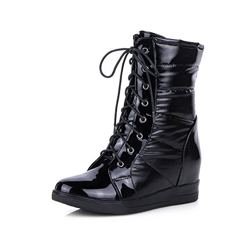 Ladola Girls Bandage Heighten Inside Platform Black Imitated Leather Boots - 7 B(M) US