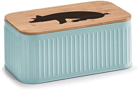 ultiMade - Panera (Lata de Galletas Caja de Metal con Tapa de bambú - Pastel Ton con Diseño de cerditos: Amazon.es: Hogar