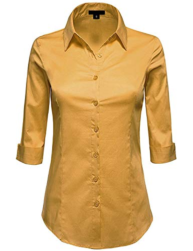 (MAYSIX APPAREL Plus Size 3/4 Sleeve Stretchy Button Down Collar Office Formal Shirt Blouse for Women Mustard 3XL)