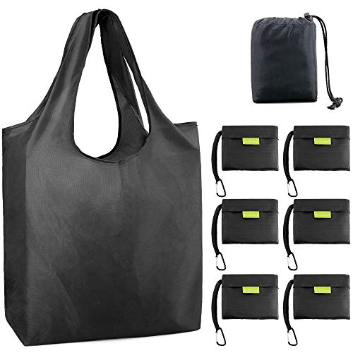 Black-Grocery-Bags-Reusable-Foldable-Shopping-Bags Large 50LBS Reusable Bag Groceries Tote Bags with Square Pouch Bulk 6 Pack Ripstop Fabric Washable Durable -