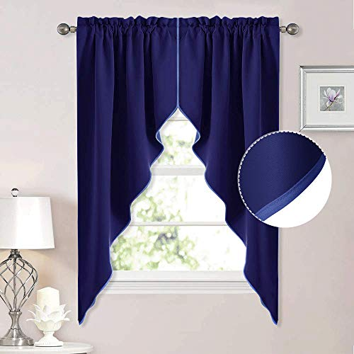 NICETOWN Blackout Rod Pocket Kitchen Tier Curtains- Tailored Scalloped Valance/Swags for Living Room (Dark Blue, 1 Pair, W36 X L63 Inches Each Panel) (Living For Room Short Curtains)
