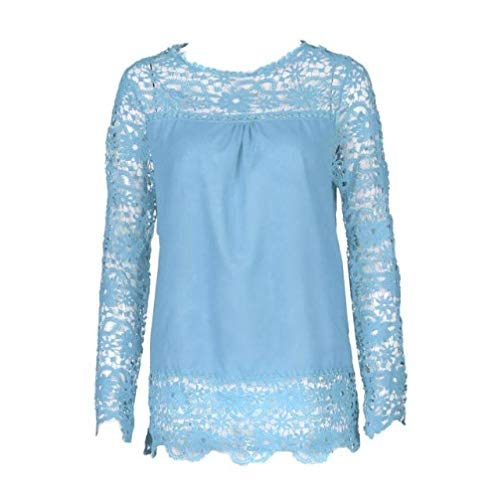 Women Plus Size Hollow Out Lace Splice Long Sleeve Shirt Casual Blouse Loose Top(sky blue,Small) by iQKA (Image #2)
