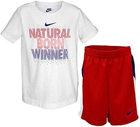 Size 6 Nike Boys Two Piece NBW Dri-Fit Tee /& Mesh Shorts Set University Red