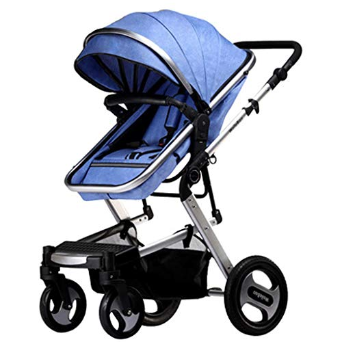 Pushchairs for Babies,Pushchairs and Strollers, Adjustable High View Pram,Travel System with Baby Basket and Anti-Shock Springs,Infant Carriage Pushchair (Color : Blue-A)