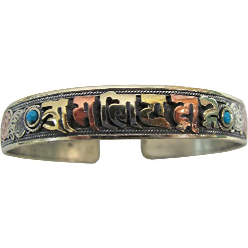 [Tibetan Copper/Brass Two-Tone Metal with Turquoise Om Mani Padme Hum Yoga Meditation Cuff Bracelet] (1920s Beach Costume)