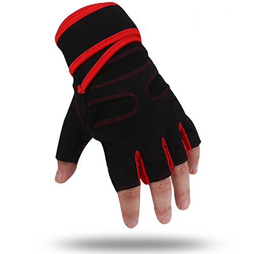 Pro Gel Bell Gloves Cycling (Wrist Support Gloves Specialized For Women Adults Pro Body Physical Fitness Home Workout Bodybuilding Lifting Weights Gymnastics Dumbbell Motorcycles Biker Gloves Wrist Strap (Red, M))