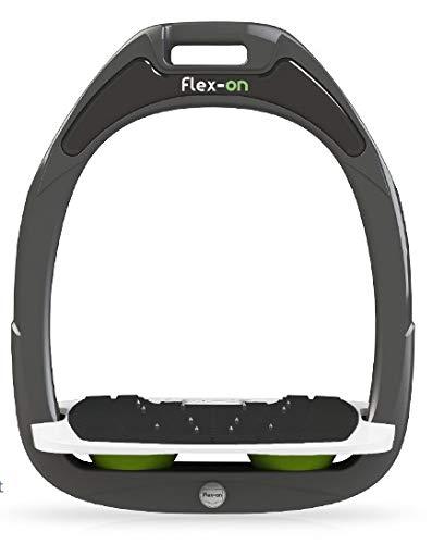 【Amazon.co.jp 限定】フレクソン(Flex-On) 鐙 ガンマセーフオン GAMME SAFE-ON Mixed ultra-grip フレームカラー: ダーク グレー フットベッドカラー: ホワイト エラストマー: グリーン 06838