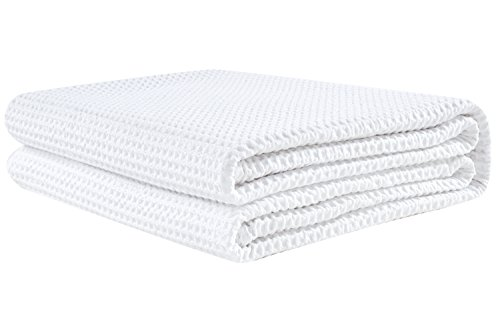 PHF Cotton Waffle Weave Bed Blanket Lightweight and Breathable Perfect Bed Home Decor Queen Size White