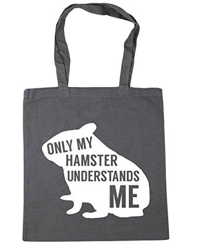 HippoWarehouse solo mi hámster entiende me Tote Compras Bolsa de playa 42cm x38cm, 10litros gris grafito
