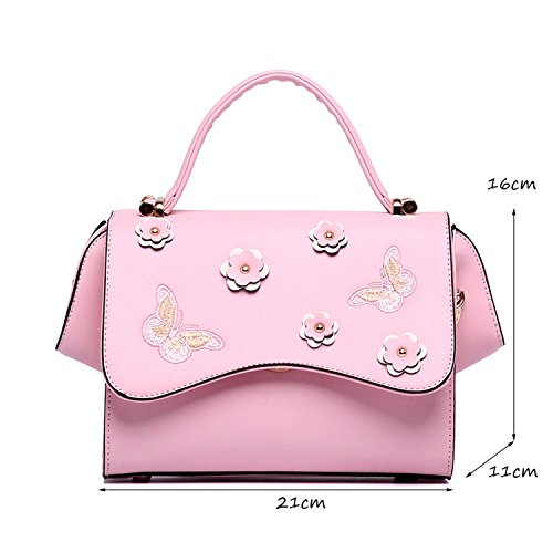 Personality Bag Shoulder Black Wings DEI Flower Handbag Butterfly Tote Small Messenger QI Ladies Embroidery Color Pink Fashion FxwT4IRO