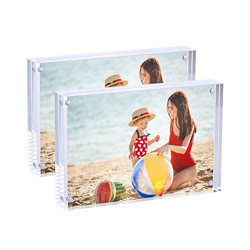 - Syntrific Acrylic Photo Frame 5x7 inches 2 Pack Free Standing Desktop Double Sided 22mm Thickness Magnetic Clear Premium Picture Frames Display