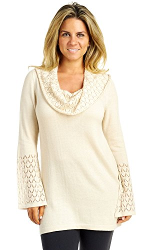 August Silk Women's Long Sleeve Cowl Neck Fit & Flare Top With Bell Sleeve, Ash Blonde, Medium