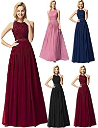 Womens Cap Sleeve Lace Neckline Ruched Bust Evening Gown...