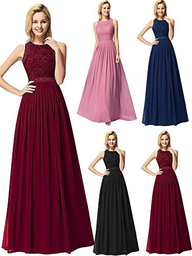 Ever-Pretty Women Elegant A Line Long Pleated Prom Dress with Lace Bodice 6US Burgundy