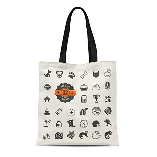 Semtomn Canvas Tote Bag Shoulder Bags Paw Dog Pet Vet Types of Food Turtle Tortoise Women's Handle Shoulder Tote Shopper Handbag