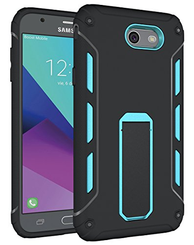 (for Samsung Galaxy J7V J7 V / J7 Perx / J7 Sky Pro / J7 Prime/Halo / J7 2017 Case, OEAGO [Heavy Duty] [Shockproof] Soft TPU & Hard PC Rugged Dual Layer Case with Kickstand - Blue)