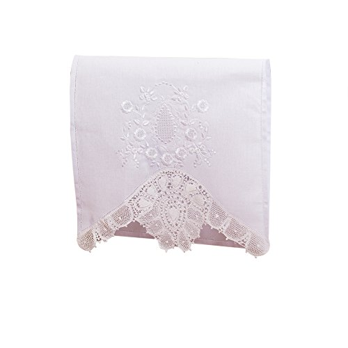 White Vintage Towel with Embroidered Lace Linens (Handmade Décor) for Decorative Kitchen and Bath Truffilio - Personalized Flower Pots
