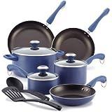Paula Deen Signature Aluminum Nonstick Dishwasher Safe 11-Piece Cookware Set, Blueberry