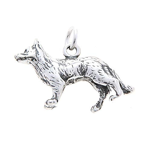 Sterling Silver Three Dimensional German Shepherd Dog Charm/Pendant Jewelry Making Supply Pendant Bracelet DIY Crafting by Wholesale Charms