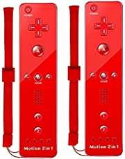 Ameego TheMax® WII U Remote Console Joystick Controller X2 Built in Motion Plus 2 in 1 Remote Multi Player Wii U Games Controller + FREE SILICONE COVER AND STRAP (Red)